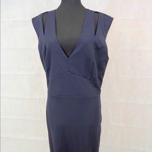 Sexy Navy Blue Crepe midi length dress